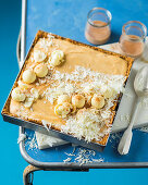 Eggnog cake with white chocolate truffles