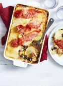 Potato, Swede and Sausage Gratin