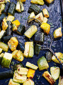 Oven-roasted courgettes