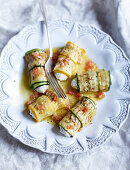 Courgette rolls filled with cream cheese