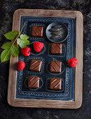 Tonka bean and raspberry chocolates
