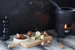 Ingredients for vegetable fondue