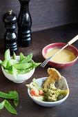 Vegetable tempura with fondue sauce