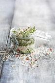 A jar of rosemary salt