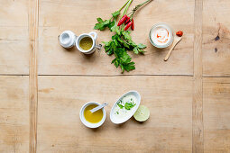 A selection of dressings – vinaigrette with herbs, yoghurt and crème fraîche