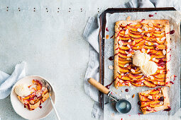 Free form nectarine tart with almond pastry