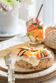 Freshly baked bread with cheese and pickled vegetables
