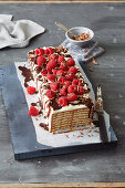 Tiramisu cake with raspberries