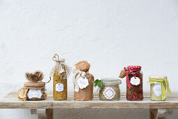 Various dishes five-element preserves in glass jars for gifting