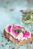 Radish bread with cottage cheese