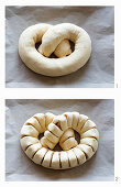 A stuffed yeast dough pretzel being shaped and scored
