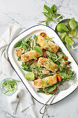 Coconut-crusted fish with thai green curry vegetables