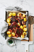 Easy cola pork ribs with spicy potatoes and corn