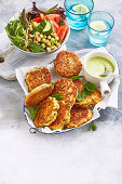 Lamb and Chickpea Fritters with Salsa Verde Cream