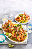 Spiced Prawn Skewers with Coriander Pilaf and Lime Yoghurt
