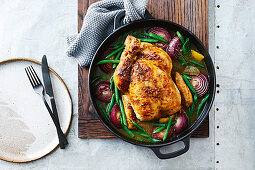 Slow Roasted chicken with onion gravy