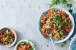 Jewelled rice and cucumber salad
