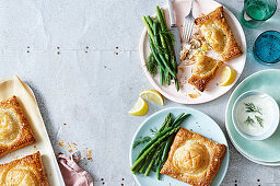 Salmon coulibiacs with creamy Horseradish sauce