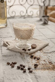 Milk punch with brandy, nutmeg and coffee