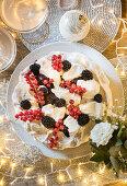 Mulled winter Berry pavlova