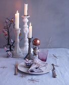 Christmas place setting and candlesticks