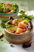 Salmon and vegetable poke bowls