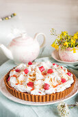 Spring meringue and rhubarb cake