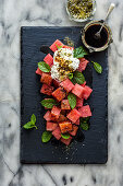Watermelon and labne salad with sumac and mint