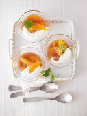 Yoghurt and quark cream with orange compote