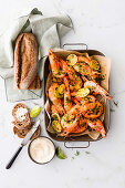 Oven-roasted garlic and lime prawns