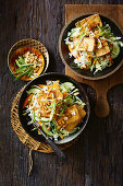 Indonesian fried tofu with peanut sauce (Tahu Goreng)