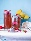Quince jelly with rose petals