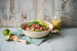 Warm asparagus salad with a dressing