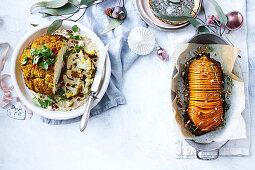 Spice-roasted cauliflower with pomegranate - Sticky hasselback pumpkin