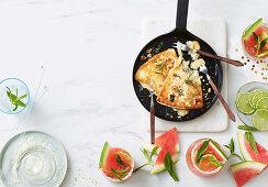 Watermelon Mojitos - Fried greek cheese with honey, oregano and walnuts