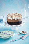Four ingredient chocolate mocha mousse cake