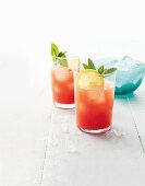 Watermelon lemonade with rum and vodka