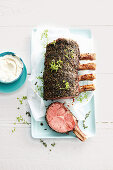 Thyme and pepper crusted beef with horseradish cream