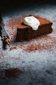 Chocolate rum and raisin ricotta cake