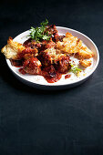 Cheesy meatball skillet with garlic croutons