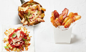 Cheesy dippers, pizza chips and cheese bacon bites