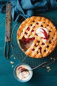 Apple raspberry and almond shortbread pie