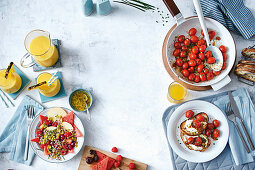 Pine-mango smoothie, Breakfast quinoa and red fruit salad, Devilled tomatoes on toast