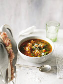 Pearl Barley minestrone with italian sausage