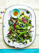 A garden salad with beetroot