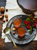 Christmas punch and various nuts