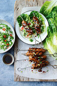 San Choy Bow skewers with lettuce leaves and cilantro rice