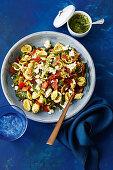 Pesto and crispy salami pasta