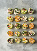 Thai beef salad wraps; Mexican chicken and salsa wraps; Omelette wraps; Tabouleh, tuna and hummus wraps; Cottage cheese, cranberry and turkey wraps