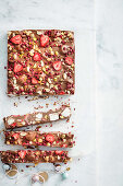 Pistachio and pomegranate rocky road slab